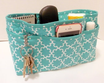 Quilted Purse Organizer Insert With Enclosed Bottom Large - Teal and White