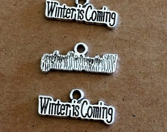 6 Winter is Coming charms - Antique Silver - SC223 #GW