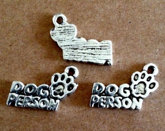 5 Dog Person charms - Antique Silver - SC194 #GO