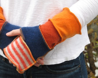 Arm Warmers - Fingerless Gloves - made from recycled sweaters - Chicago Bears