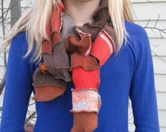Patchwork Scarf - Upcycled and Eco Friendly - Tangerine & Cinnamon