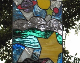 Far Out -  Retro 60s Stained Glass Panel
