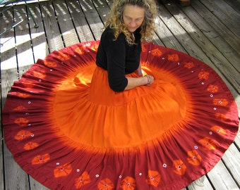 Made to Order: Bohemian Full Circle 3-tier Silk Skirt, Handmade and Dyed, with Shibori