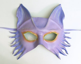 Wolf Fox Dog Leather Mask in Lavender with pastels and brights very lightweight yet sturdy