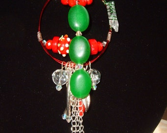Christmas, Holiday, Artisan Necklace, Red & Green, Crystal, Lamp Work, Natural Emerald, Red Crystal, Red Coral, Bohemian, Original, Quartz