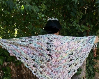 Cream with colors triangle shawl - wool and acrylic