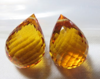 Orange Citrine Facetd Briolette 12x16mm - One Pair