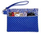 Silver Blue Polka Dot Wristlet, Floral Clutch, Metallic Silver Wallet, Front Zippered Purse, Phone or Gadget Holder, Makeup or Camera Bag