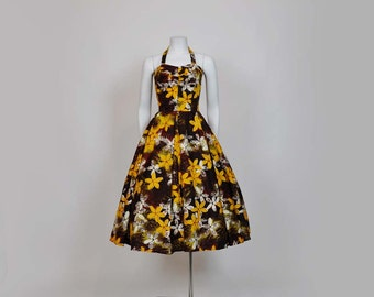 50s dress / Vintage 1950's Alfred Shaheen Hawaiian Full Skirt Dress
