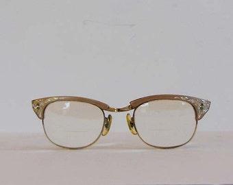 1950s eyeglasses / Vintage 50's Cateye Aluminum Engraved 10k GF Inlaid Glasses