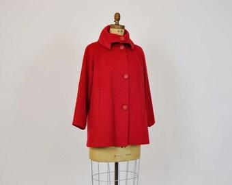vintage jacket / Christmas Red Vintage 50's Big Button Swing Coat