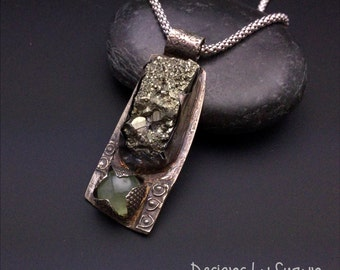 RAW - Edgy and Unusual Sterling Silver, Pyrite and Prehnite OOAK Pendant