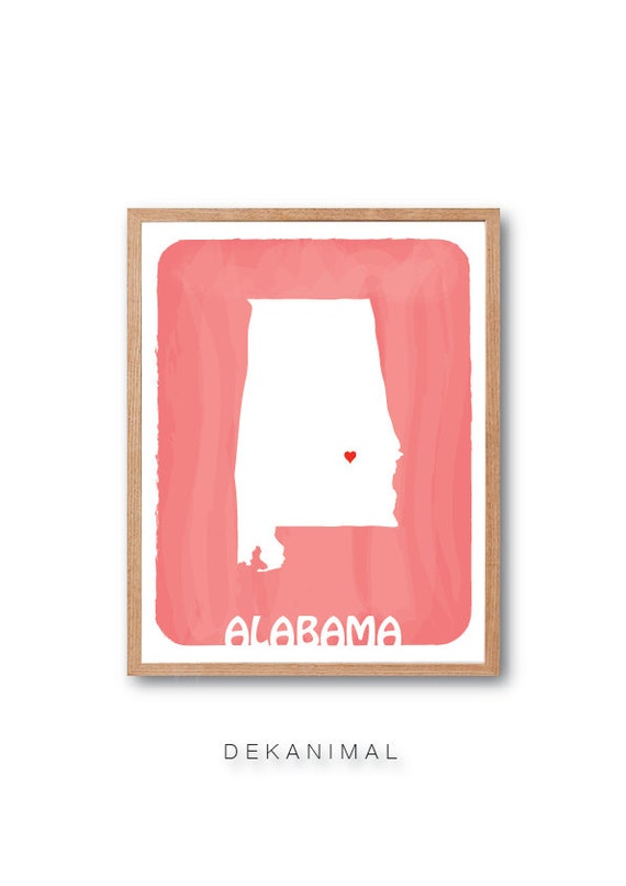 Personalized Wedding Gift - ALABAMA State Map - CORAL - Custom Color Watercolor Style Love Birthday Anniversary GIft Children Kids poster