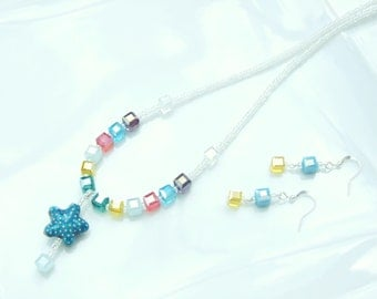 SET - Cloisonne Starfish & Crystal Cubes Necklace and Earrings