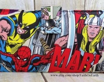 Marvel Retro Breakthrough Handmade Long fandom geek Wallet  BiFold Clutch -Vegan Wallet - Spider Man - Hulk -Iron Man-Thor Comic Super Hero