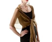 PROMO SALE Bronze - Black Silk  Formal / Evening Wrap.