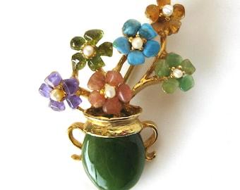 VintageVintage SWOBODA Brooch / Flowers in Jade Flower Pot Brooch / Semi-Precious Stone Flowers
