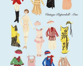 Vintage digital Paperdoll, Printable Paper Doll, Roaring 20's paper doll, flapper paper doll, jpeg format, 1920's doll, vintage fashion