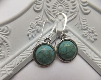 Faux Turquoise Resin Cabachon on Tall French Silver Plated Nickel Free Hooks