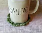 Cotton Crochet Coasters | Sage Green Flower Shaped Coasters Set of 4 | Eco Friendly 100% Cotton Washable Stocking Stuffer Housewarming Gift
