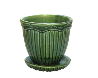 Retro Pottery Flower Pot, Forest Green, Mid Century Planter, Hall Ceramic Gardening Plant Decor