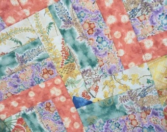 Floral Patchwork Quilt -  Rail Fence Willow 31x39 inches