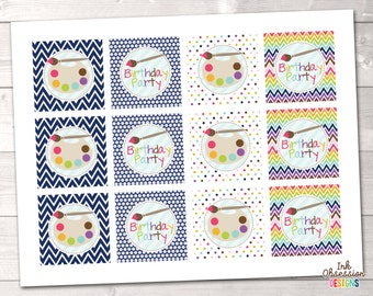Art Party Birthday Party Cupcake Toppers Printable PDF - INSTANT DOWNLOAD