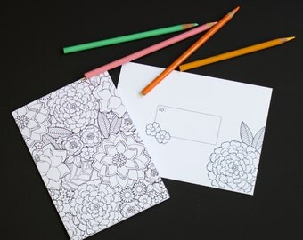 Floral Coloring Book Greeting Card With Matching Envelope