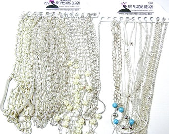 21 Bright Silver-tone Finished Fashion Necklace Chains -Mostly 16 inch, 18 inch N456