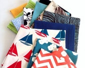 SUMMER SALE Assorted Organic Cotton Napkins - Choose Your Colors/Prints, Eco Friendly Cloth Napkins, Reusable, Set of Eight