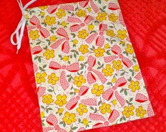 Drawstring Bag in Retro Print with Pink Bows from The Farmer's Daughter