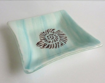 Aqua and White Streaky Fused Glass Dish with Nautilus Shell Decor