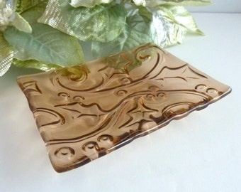 Coral Pink Glass Holly Imprint Plate