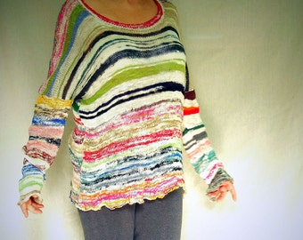 Featherlight  hand spun Silk and Alpaca  -  Handmade knitted Pullover  - individually knitted by kathrin kneidl  -  OAK