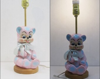 Vintage 60s Lamp Creepy Cute Pink Bear Rubber Bedside Light