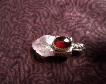 Rose Quartz, Garnet and Tourmaline-A Crystal Pendant
