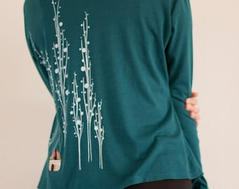 Unique Gift for Women . Teal Blue Jersey Cardigan . Long sleeve convertible Wrap . Office Fashion - Surrounded by big trees