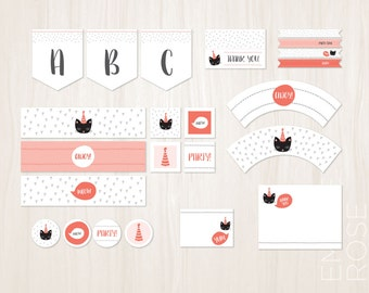Kitty Cat Birthday Party DIY Decoration Pack | Birthday Invite | Pink and Gray | Customized | Instant Download