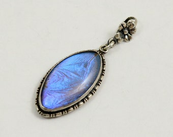 Vintage Butterfly Wing Pendant, Art Deco, Sterling Silver, Made in England, Blue Morpho Butterfly, Marquise Pendant