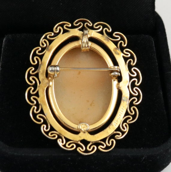 Cameo Brooch 12k Gold Filled Shell Gold Filigree Cameo By