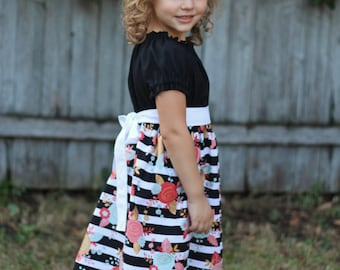 Floral Striped Dress with sash , Peasant Dress, Girls black and white stripe flower dress
