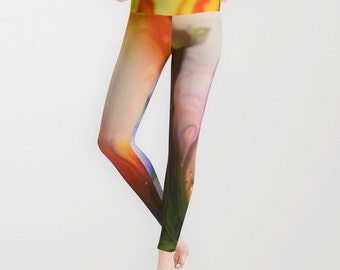 HAPPY DREAM Leggings, Colorful Yoga Pants, Unique Fashion, Abstract Yoga Leggings, Women, Teen Active Wear, Running Pants,Jogging Pants,Surf