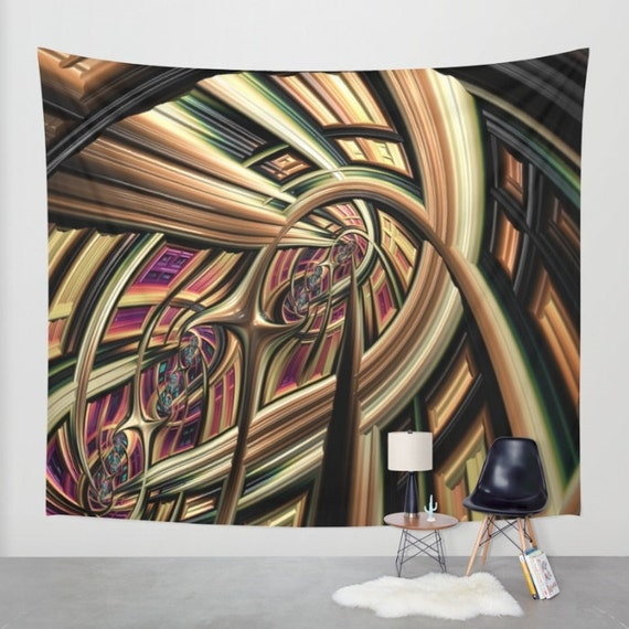 Arch Abstract Wall Tapestry, Large Abstract Wall Art, Architecture Tapestry, Brown Green Tapestry, Modern Decor, Digital Art, Contemporary