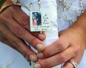 Bridal Bouquet Memorial Photo Pendant - Lg. 2 in 1 Custom Bouquet Jewelry - BC1