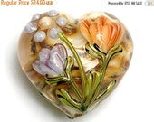 ON SALE 30% OFF 11815025 - Antique Garden Heart (Large) - Handmade Glass Lampwork Bead