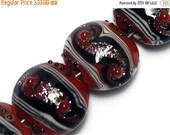 ON SALE 30% OFF Four Disco Night 1 Stardust Lentil Beads - Handmade Glass Lampwork Bead Sets 10705712
