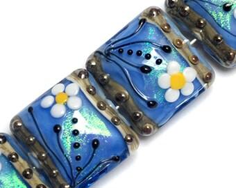 NEW! Four Arctic Blue Florals Pillow Beads 10414214 - Handmade Glass Lampwork Bead Set