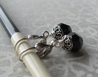 Black Swarovski Crystal Leverback Earrings
