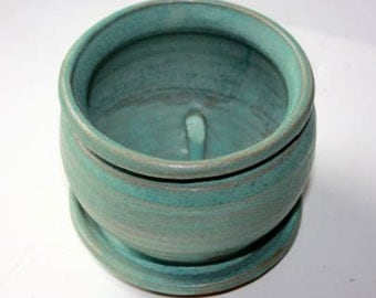 Stoneware Cerulean PlanterAbout Four Inches in Height Built in Saucerfor Drainage Indoor Gardening Herbs, Cactus, Seeds