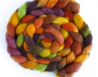 BFL Wool Roving - Hand Painted Spinning or Felting Fiber, Summer Reserve